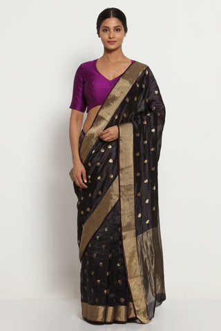 Black Handloom Pure Silk Chanderi Saree with All Over Motifs and Rich Gold Zari Border