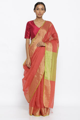 Rust Pure Linen Tussar Silk Saree with Gold Zari Border and Contrasting Pallu