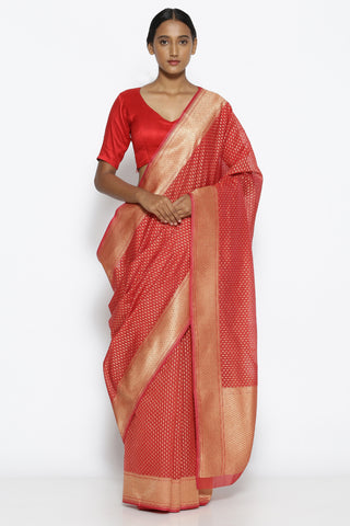 Red Silk-Cotton Banarasi Saree with All Over Gold Zari Paisley Motifs