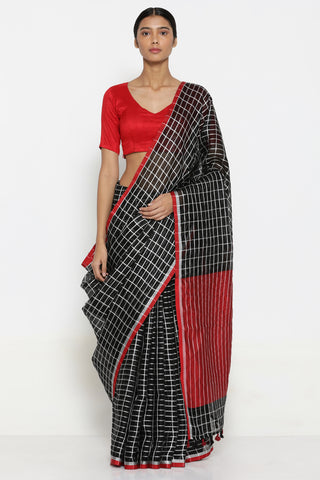 Black Handloom Pure Linen Saree with All Over Silver Zari Checks and Contrasting Pallu