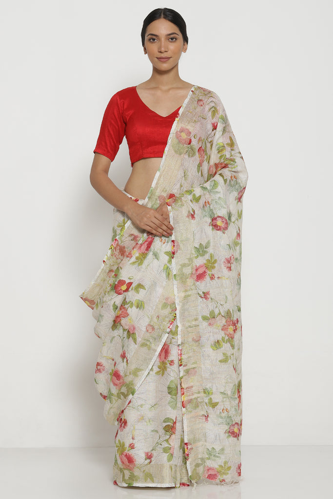 Off White Pure Linen Saree with All Over Floral Print