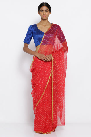 Scarlet Red Pure Chiffon Saree with Traditional Bandhej Print and Gold Zari Border