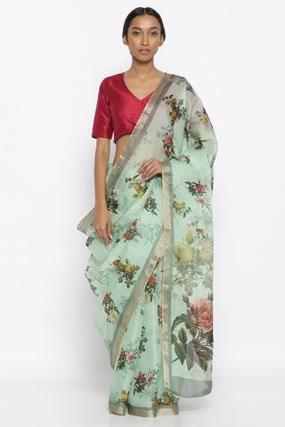 Mint Green Silk Organza Saree with All Over Printed Floral Pattern and Rich Gold Zari Border