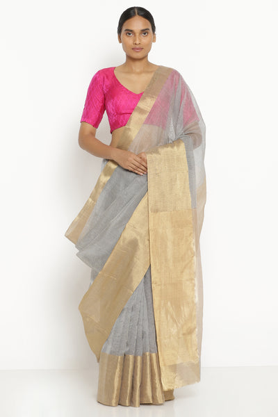 Via East grey handloom pure silk cotton chanderi saree with all over stripes