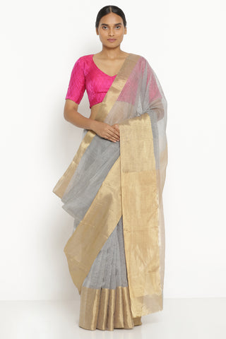 Grey Handloom Pure Silk Cotton Chanderi Saree with All Over Stripes