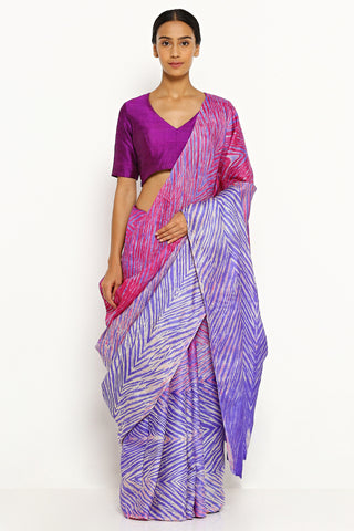 Purple-Pink Pure Tussar Silk Saree with All Over Traditional Hand-Dyed Shibori Print