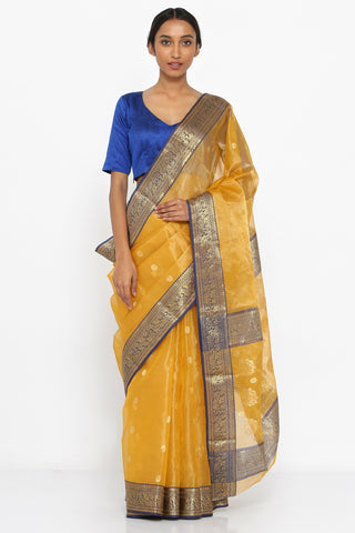 Golden Yellow Handloom Pure Silk Tissue Chanderi Sheer Saree with Allover Zari Motif and Blue Detailed Border