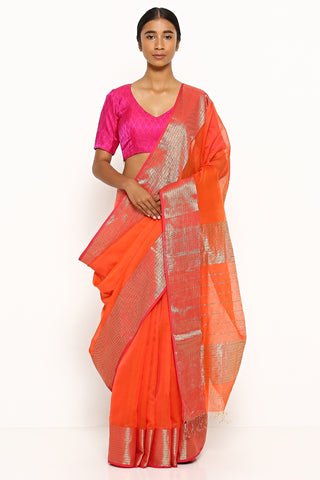 Deep Orange Handloom Silk Cotton Maheshwari Saree with Detailed Zari Border