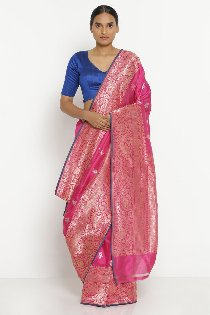 Pink Handloom Pure Banarasi Silk Saree with Rich Floral Motifs