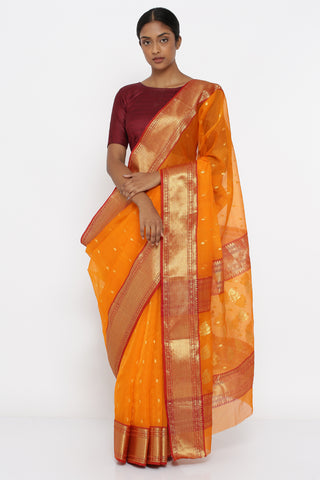 Tangerine Orange Handloom Pure Chanderi Silk Sheer Saree with Allover Zari Motif and Rich Border
