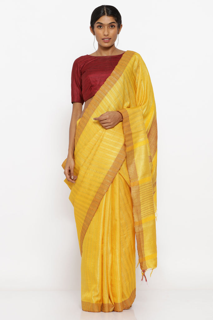Mustard Yellow Handloom Pure Tussar Silk Saree with Traditional Temple Motif on Pallu