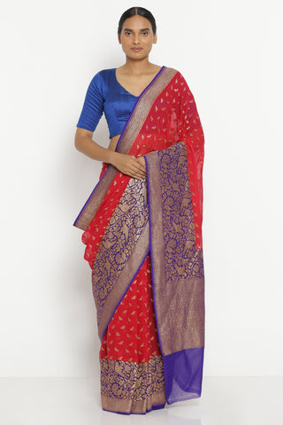 Red Pure Silk Georgette Banarasi Saree with All Over Bird Motif