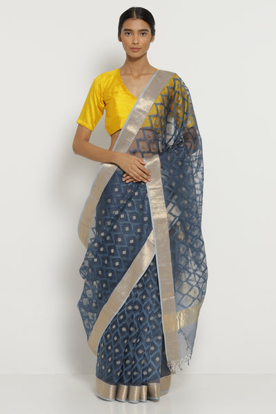 Via East indigo handloom pure silk organza saree with all over embroidery orgblu2188