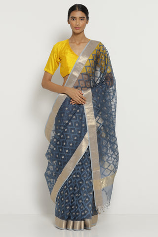 Indigo Handloom Pure Silk-Organza Saree with All Over Embroidery