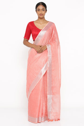 Salmon Pink Pure Linen Saree with Silver Zari Border and Woven Pallu