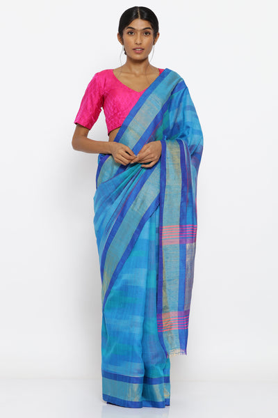 Via East blue handloom pure raw silk saree with tie dye pattern and zari border