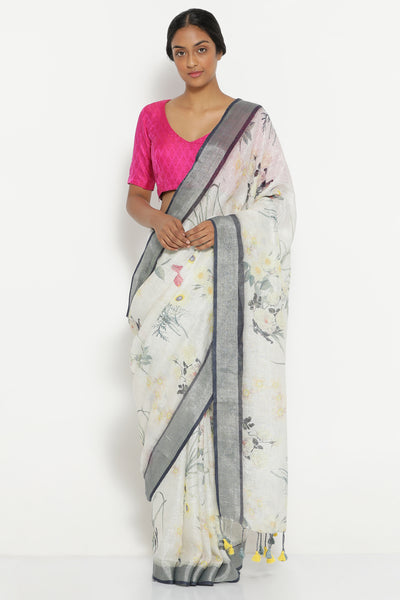 Via East grey pure linen saree with all over vintage floral print and silver zari border