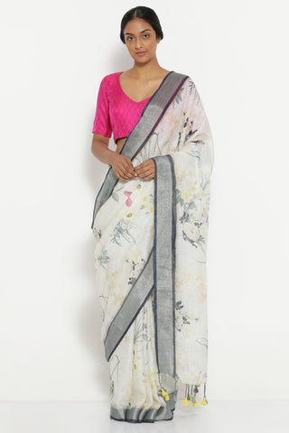 Grey Pure Linen Saree with All Over Vintage Floral Print and Silver Zari Border