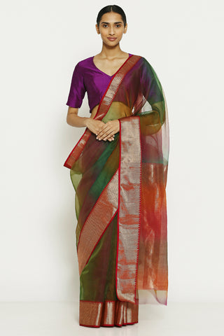 Red Green Handloom Pure Silk Chanderi Saree with Ombre Effect and Gold Zari Border
