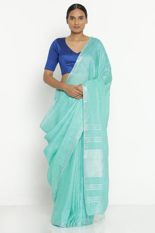 Sea Green Pure Linen Saree with Silver Zari Border