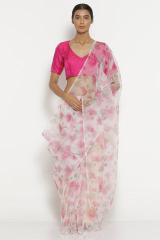 Pink Organza Sheer Saree with All Over Vintage Floral Print