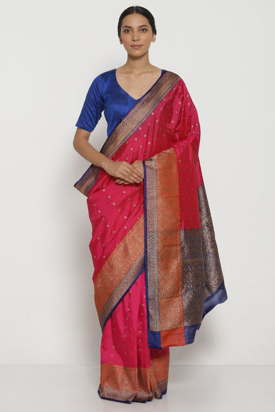 Via East pink handloom pure silk banarasi saree with antique gold zari motifs and contrast border
