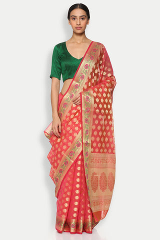 Pink Cotton Banarasi Saree with All Over Traditional Motifs