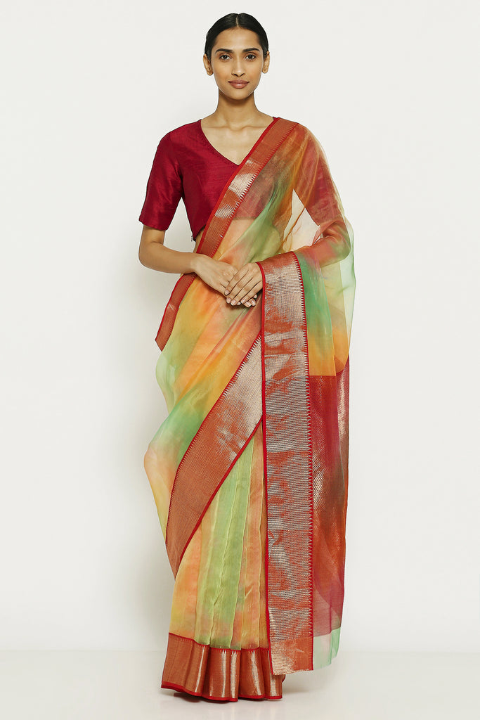 Yellow Green Handloom Pure Silk Chanderi Saree with Ombre Effect and Gold Zari Border