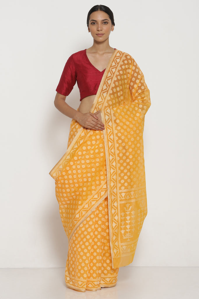 Yellow Pure Silk Cotton Banarasi Saree with All Over Traditional Motifs and Woven Border