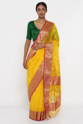 Sunflower Yellow Handloom Pure Chanderi Silk Sheer Saree with All Over Zari Motif and Intricate Border