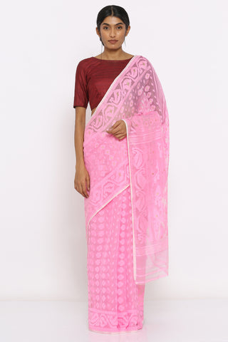 Candy Pink Jamdani Saree with Self Weave Motif and Paisley Border
