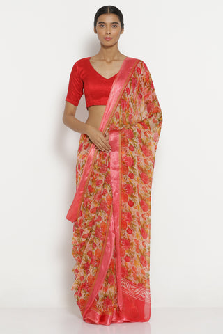 Cherry Red Chiffon Saree with All Over Floral Print and Solid Border