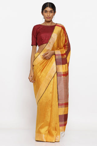 Sunflower Yellow Handloom Pure Tussar Silk Saree with Red Woven Border