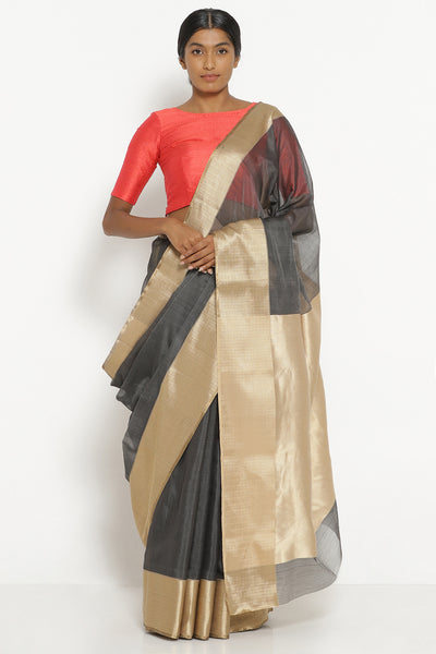Via East slate grey handloom silk cotton chanderi saree with rich gold border