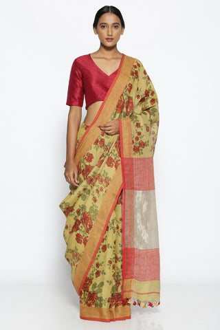 Sand Brown Pure Linen Saree with All Over Floral Print