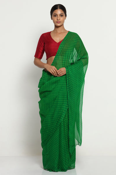 Via East green pure chiffon saree with traditional leheriya print