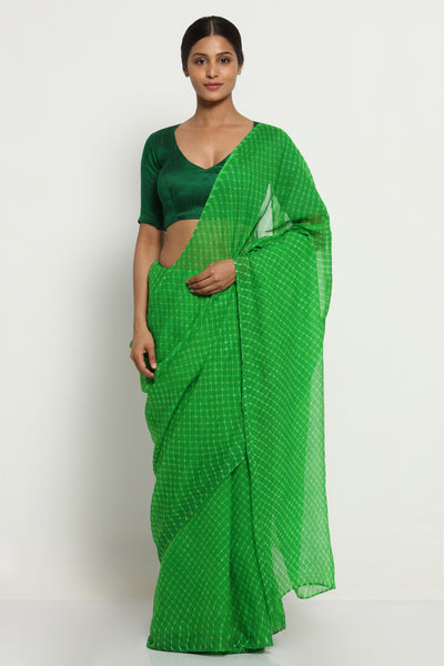 Via East parrot green pure chiffon saree with traditional leheriya print
