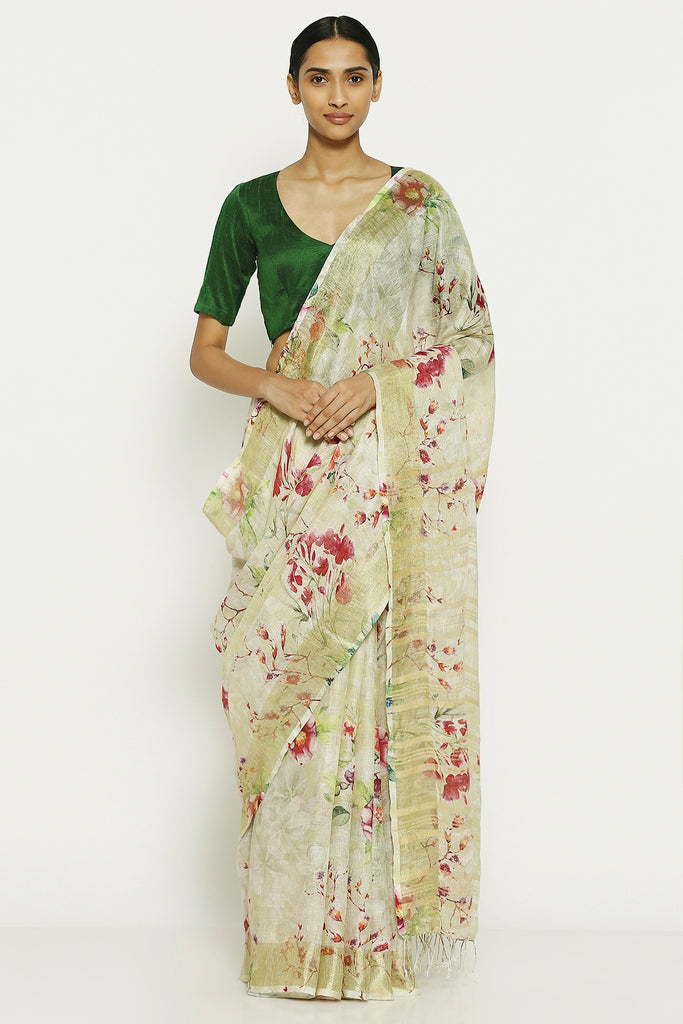 Beige Pure Linen Saree with All Over Floral Print and Gold Zari Border