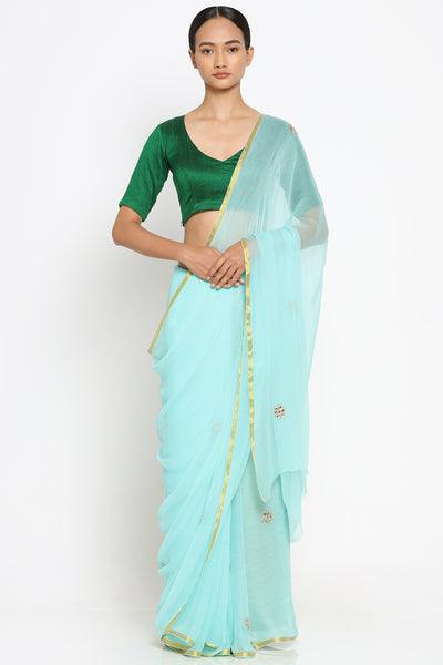 Aqua Blue Chiffon Danka-Work Saree