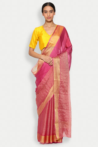 Pink Pure Crepe Saree with Gold Zari Striped Pattern