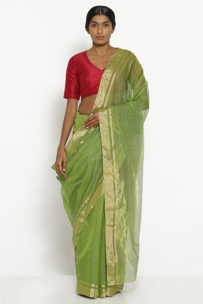 Via East sage green silk cotton chanderi saree with all over zari checks