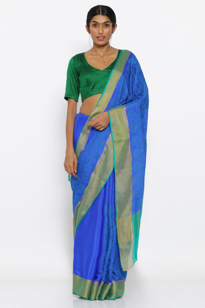 Via East blue pure silk crepe saree with allover floral embroidery and zari pallu