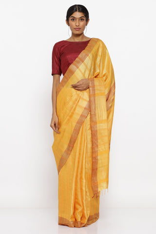 Yellow Handloom Pure Tussar Silk Saree with Traditional Temple Motif on Pallu