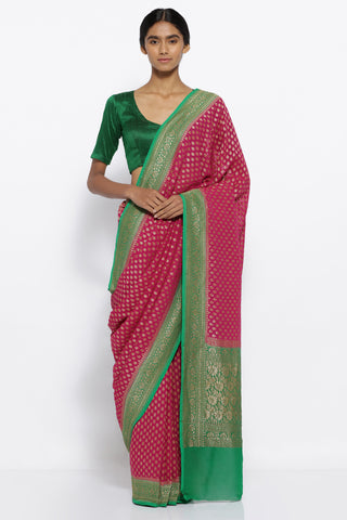 Pink Handloom Pure Silk Georgette Banarasi Saree with All Over Zari Buttis and Green Border with Zari Detailing