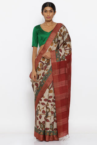 Beige Handloom Pure Tussar Silk Saree with Traditional Kalamkari Jaal and Red Woven Border