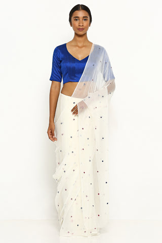 White Chiffon Saree with All Over Embellishment