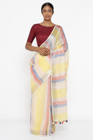 Lemon Yellow Pure Linen Saree with Multicoloured Bold Stripes and Silver Zari Border