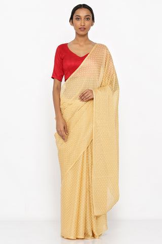 Dull Yellow Chiffon Saree with Glaze Shimmer Print