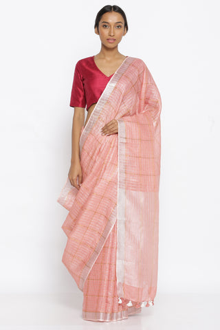Blush Pink Pure Linen Saree with All Over Gold Zari Checked Pattern and Silver Zari Border