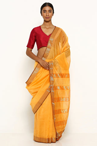 Sandalwood Orange Handloom Silk Cotton Maheshwari Saree with Gold Zari Border